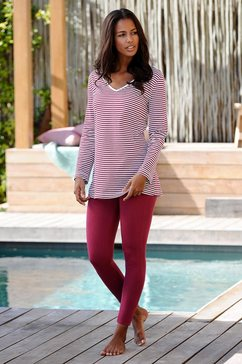 h.i.s pyjama met gestreept shirt en legging rood
