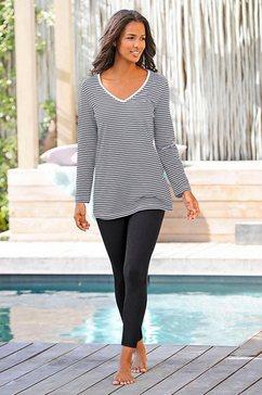 h.i.s pyjama met gestreept shirt en legging zwart