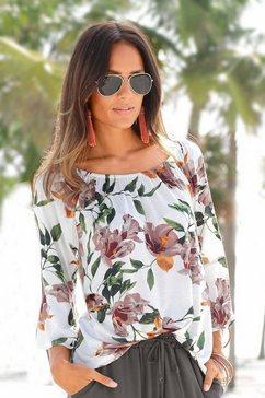 lascana strandshirt met bloemenprint multicolor