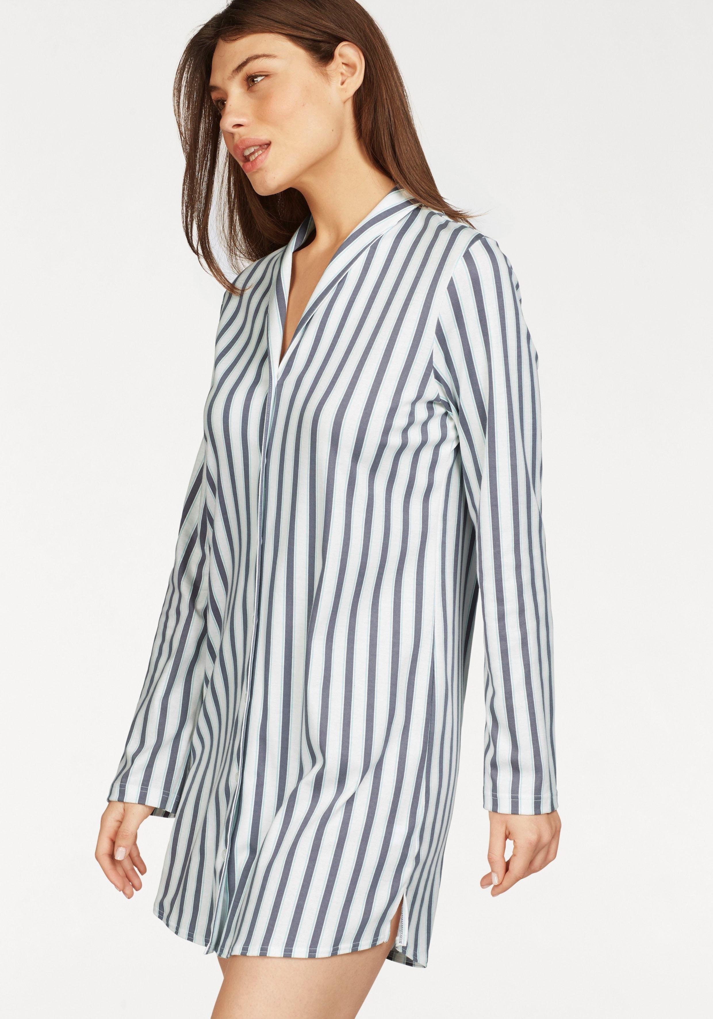 Calida nachthemd met streepdessin, bovenrand en kraag - verschillende betaalmethodes