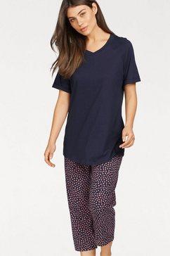 seidensticker pyjama met gestippelde capribroek blauw