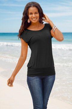 lascana lang shirt met brede boord zwart
