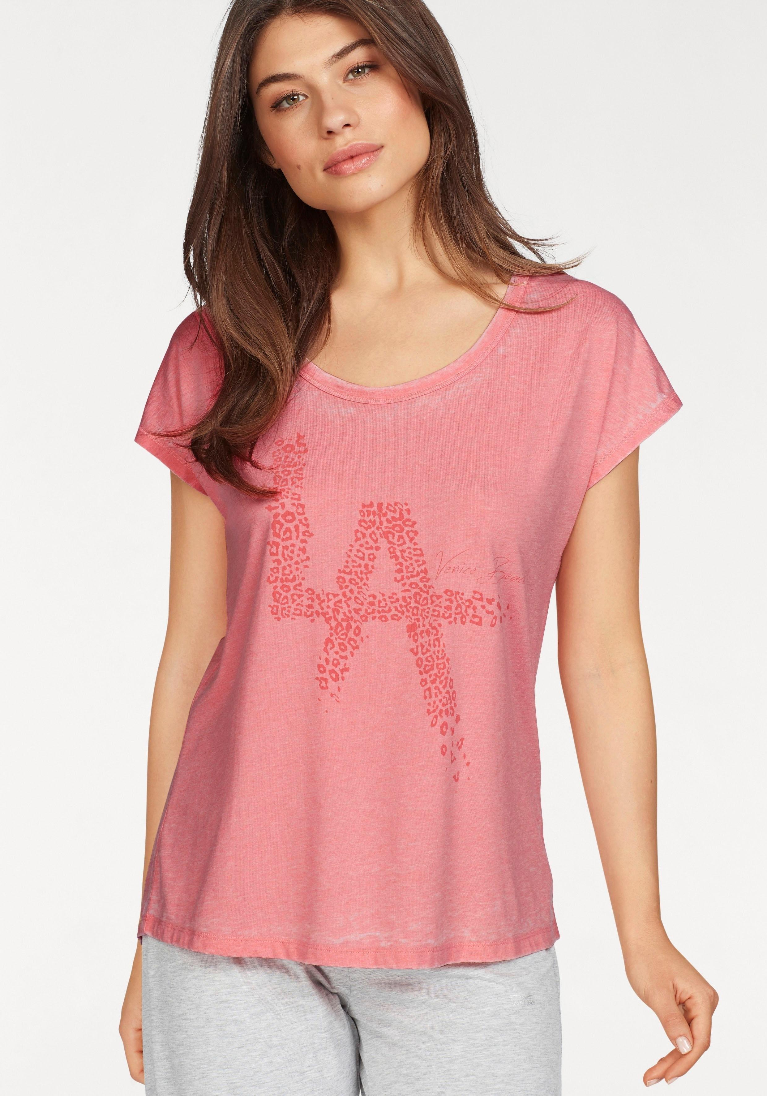 VENICE BEACH T-shirt »Popcorn« met opschrift voorzien van luipaardmotief voordelig en veilig online kopen