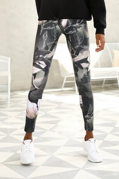 lascana legging tropical met abstracte bloemenprint groen