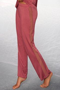 lascana pyjamabroek met strepen opzij van transparante kant roze