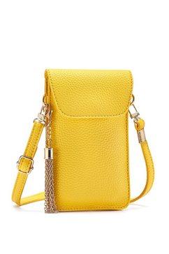 lascana schoudertas modieuze mini-bag, schoudertasje voor de mobiele telefoon met praktisch kijkvenster en afneembaar kwastje geel