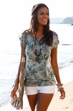 lascana lang shirt met brede tailleband bruin