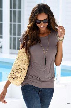 lascana lang shirt met brede boord bruin
