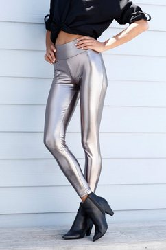 lascana legging met glanzende coating zilver