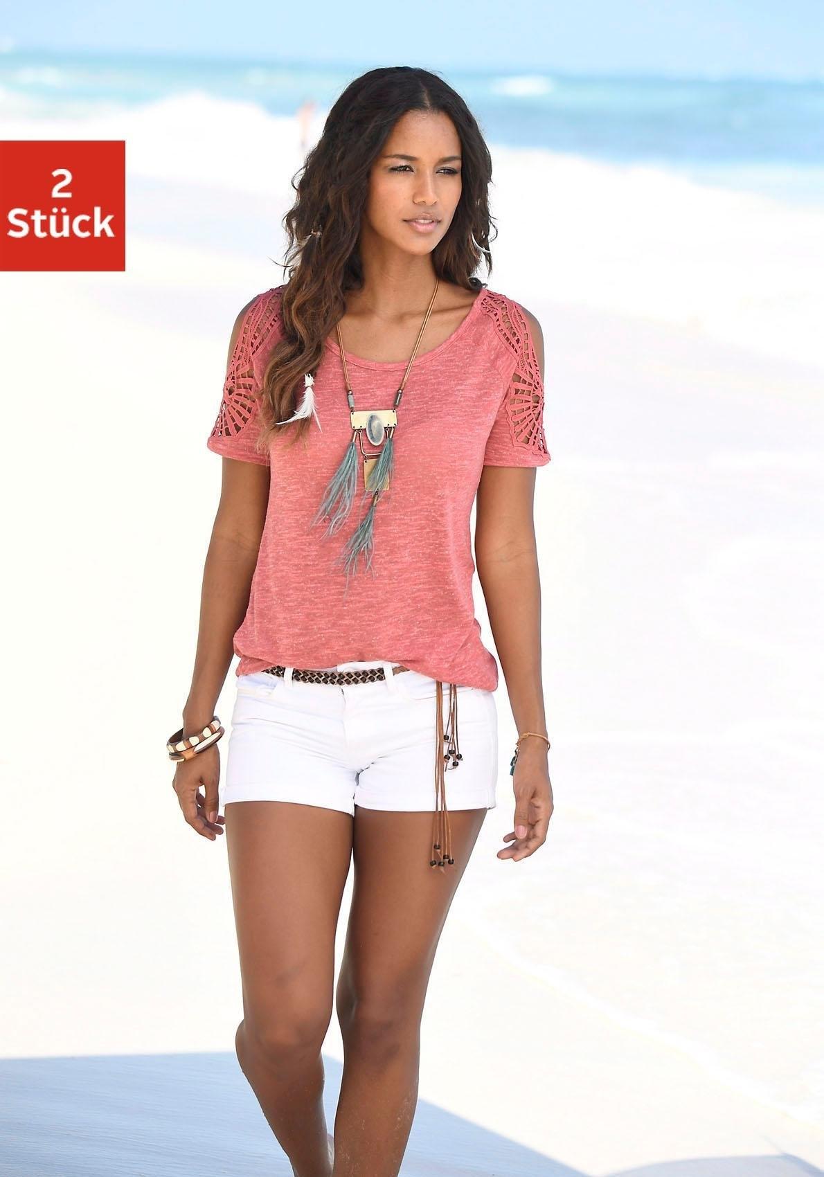 Vivance shirts met gehaakte kanten schouderinzet (set van 2) goedkoop op lascana.nl kopen