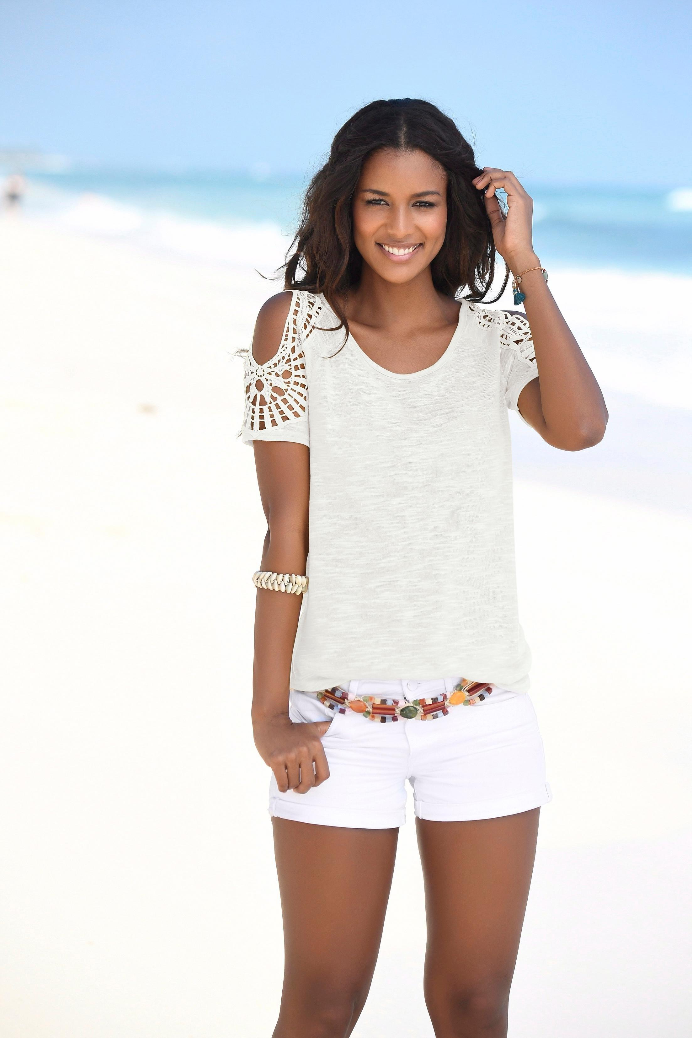 Vivance shirt met gehaakte kanten schouderinzet nu online kopen bij Lascana