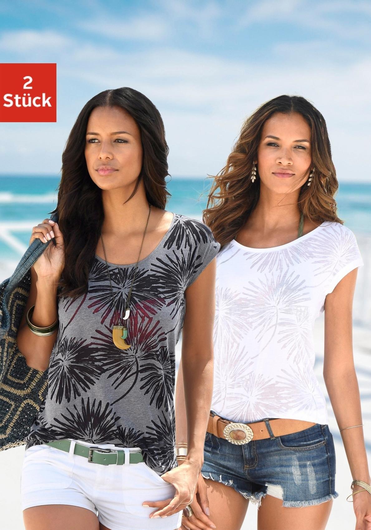 beachtime T-shirt (set van 2) - gratis ruilen op lascana.nl