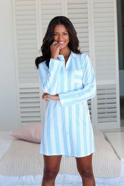 vivance dreams nachthemd in overhemd-look blauw