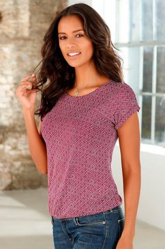 lascana t-shirt (set van 2) met allover-print rood