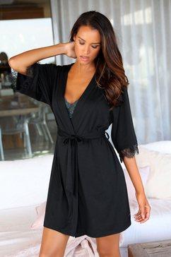 lascana kimono met kant aan de mouwen zwart