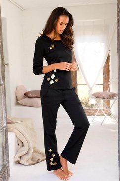 arizona pyjama met glanzende bloemenprint zwart