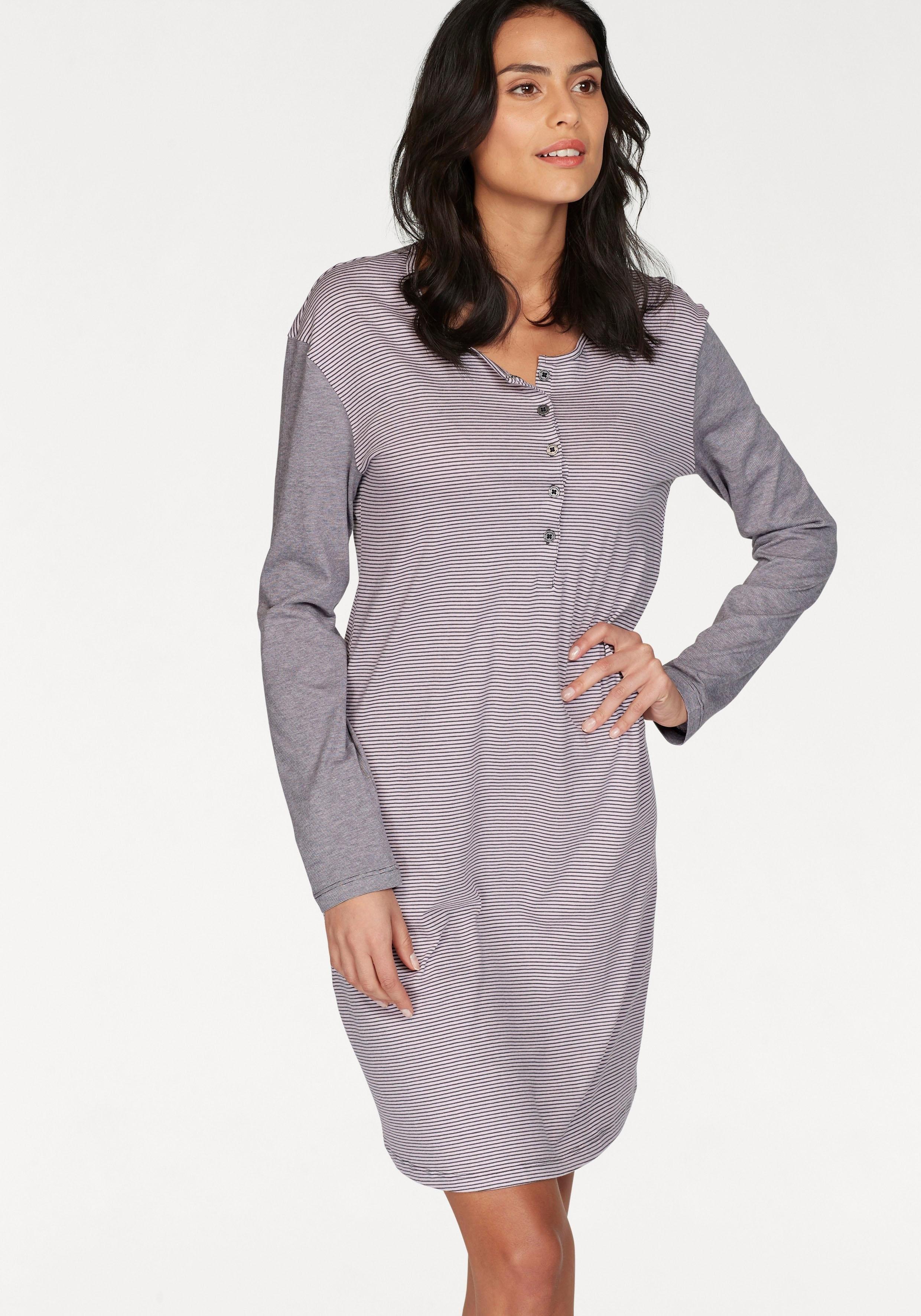 Schiesser nachthemd met smalle strepen en gemêleerde mouwen nu online bestellen