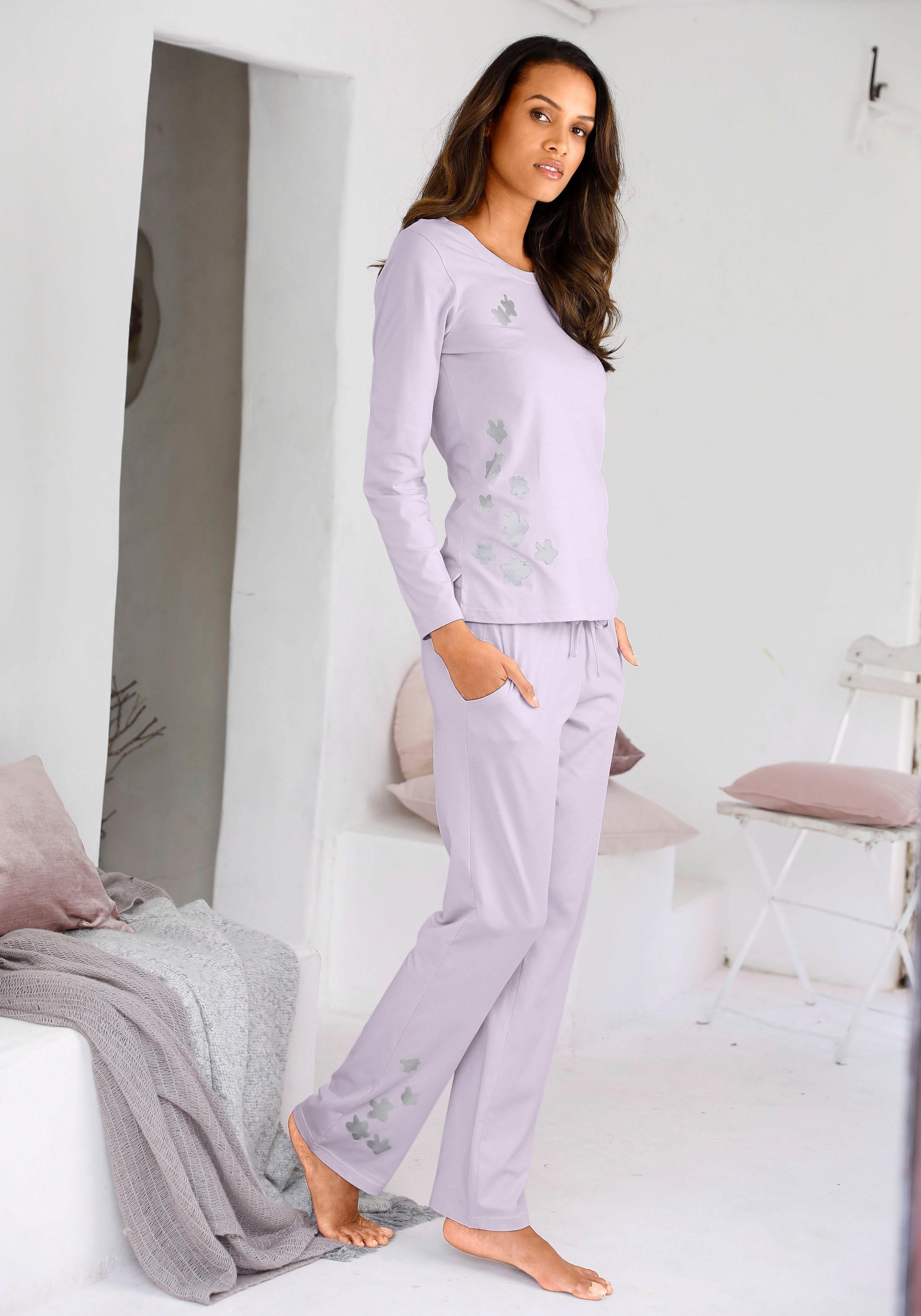ARIZONA pyjama met glanzende bloemenprint - gratis ruilen op lascana.nl