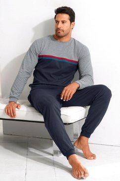 le jogger pyjama in een lang model met contrastkleurige strepen grijs