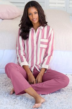 vivance dreams pyjama in overhemd-look rood