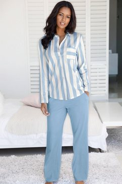 vivance dreams pyjama in overhemd-look blauw