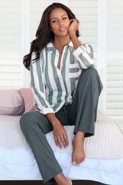 vivance dreams pyjama in overhemd-look grijs