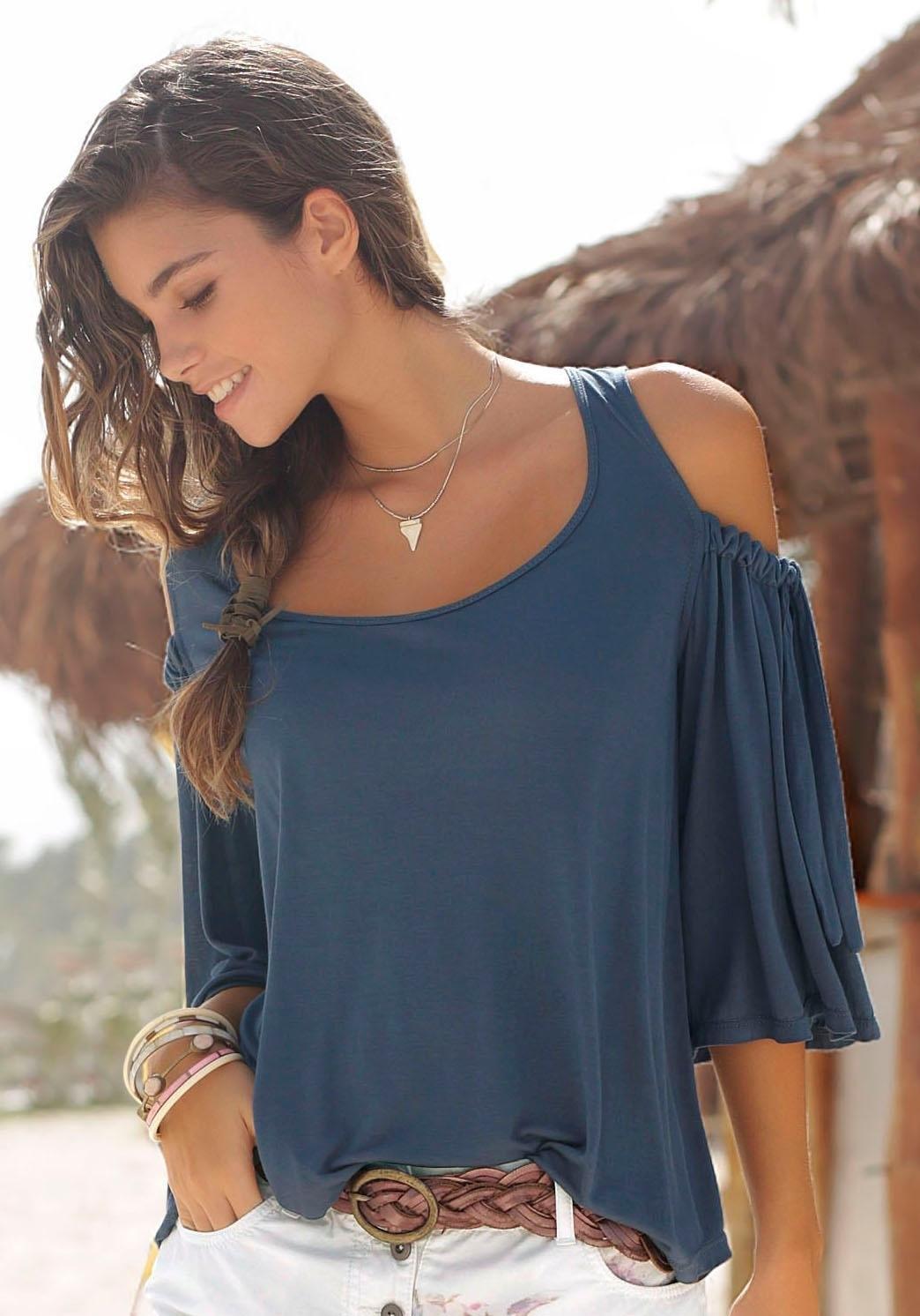 LASCANA shirt met strikdetail aan de mouwen goedkoop op lascana.nl kopen