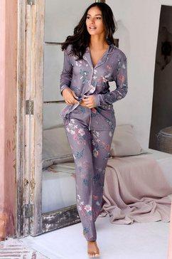s.oliver red label bodywear pyjama met flower-print bruin