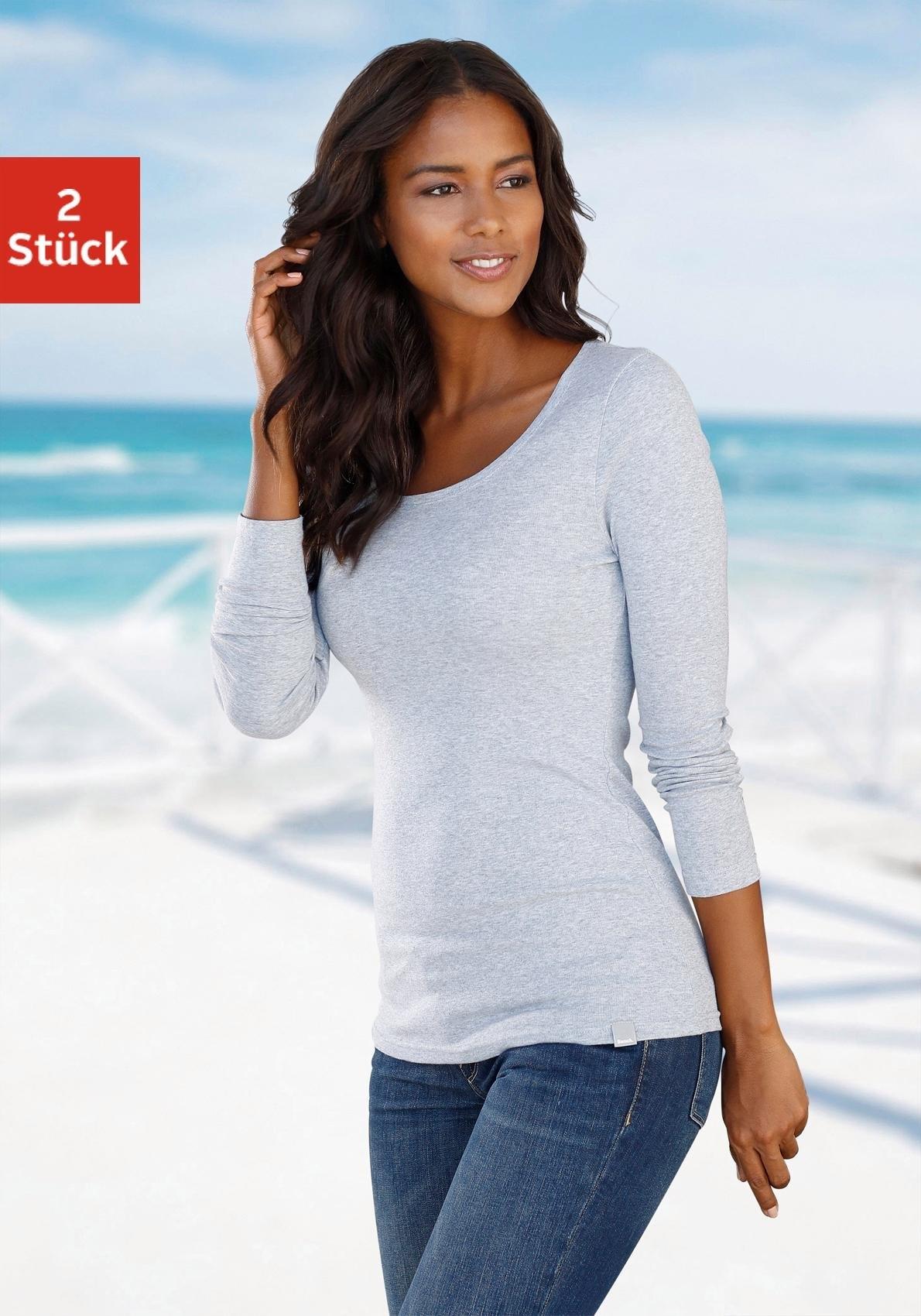 Bench. shirt met lange mouwen (set van 2) nu online kopen bij Lascana
