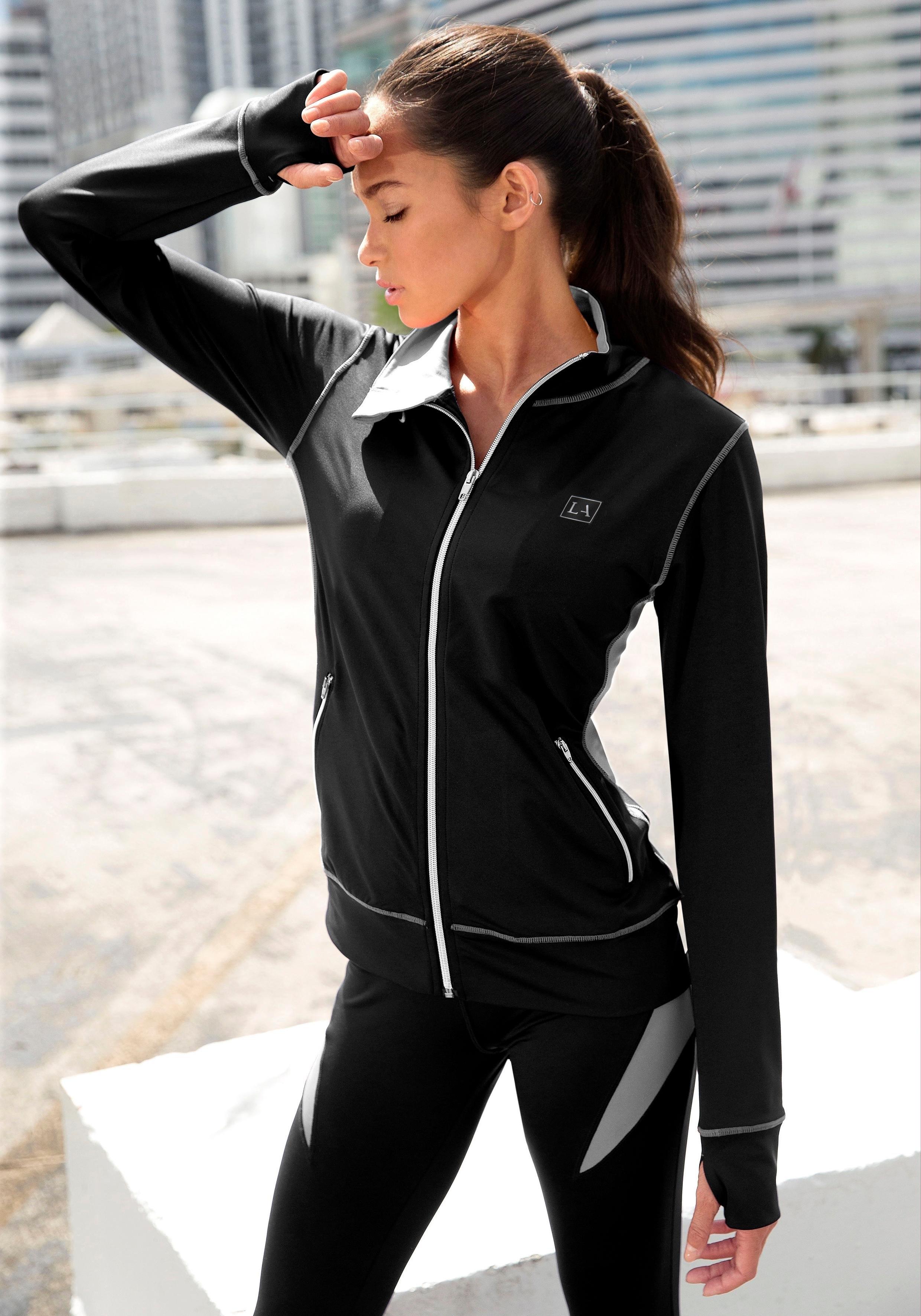 Lascana Active active by LASCANA jasje met rits in zwart met contrastnaden - verschillende betaalmethodes