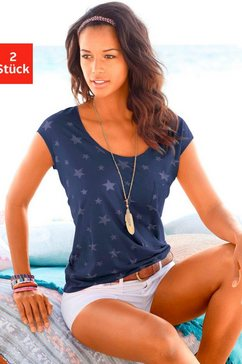 beachtime t-shirt (set van 2) met transparante sterretjes blauw