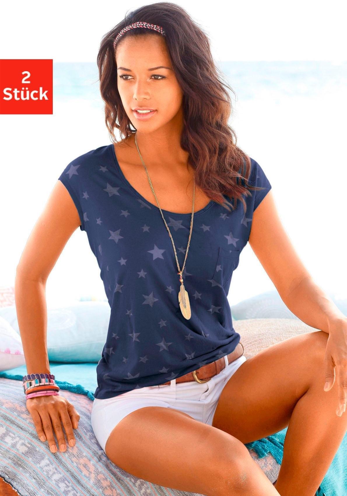 beachtime T-shirt (set van 2) met transparante sterretjes goedkoop op lascana.nl kopen