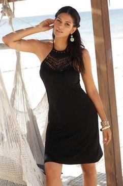 lascana jurk in haltermodel met kanten inzet zwart