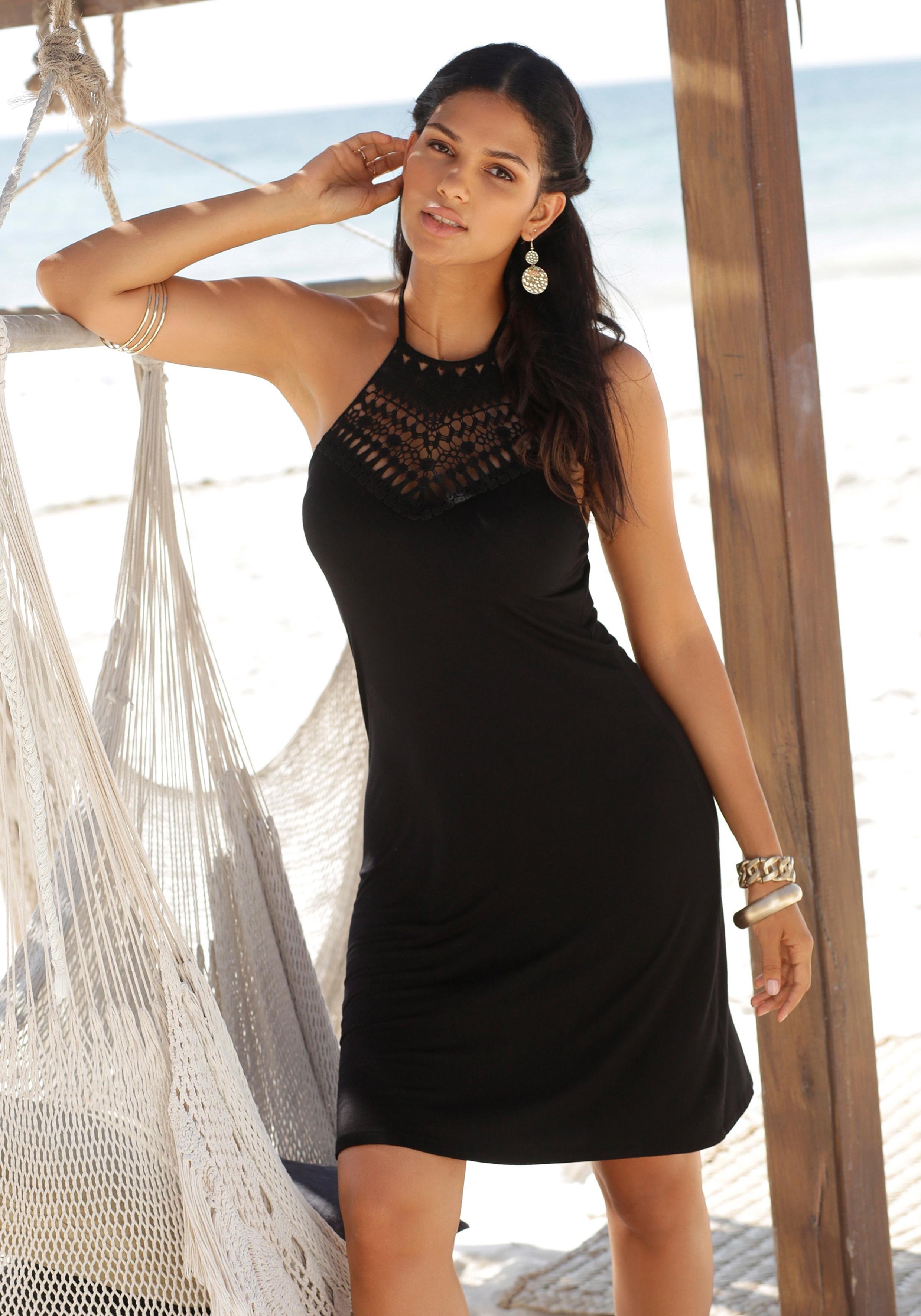 LASCANA jurk in haltermodel met kanten inzet nu online kopen bij Lascana