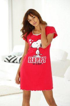 peanuts nachthemd met snoop- print en rimpelrandjes rood