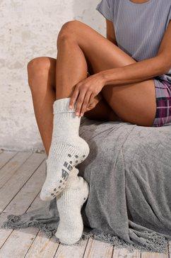 natural wollen sokken met abs grijs