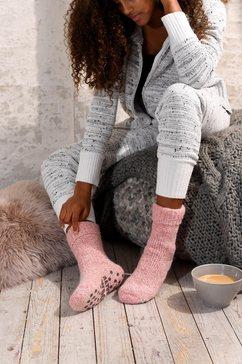 natural wollen sokken met abs roze