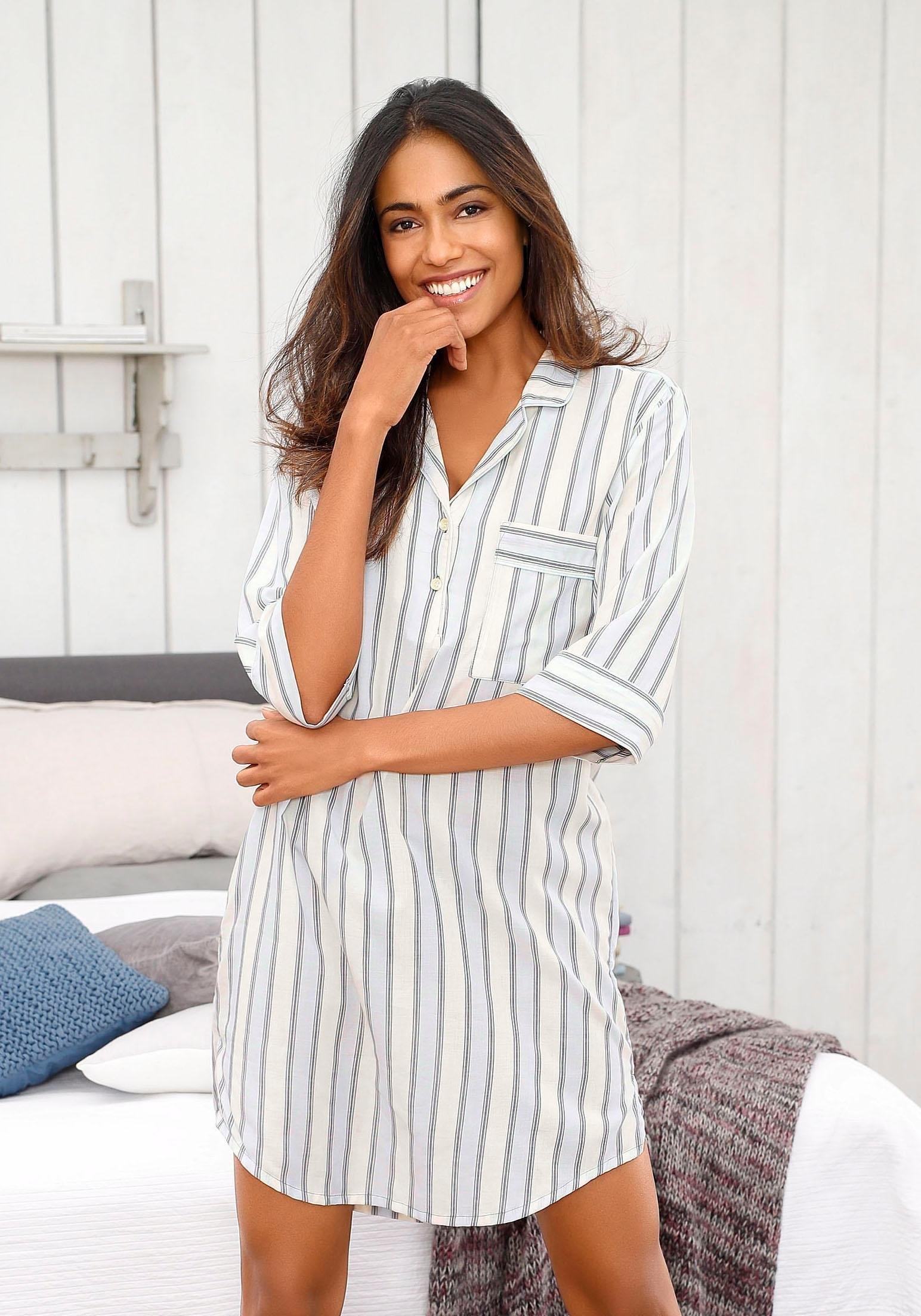 Lascana nachthemd met klassieke reverskraag - gratis ruilen op lascana.nl