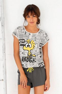 peanuts shortama met woodstock-comic-print multicolor