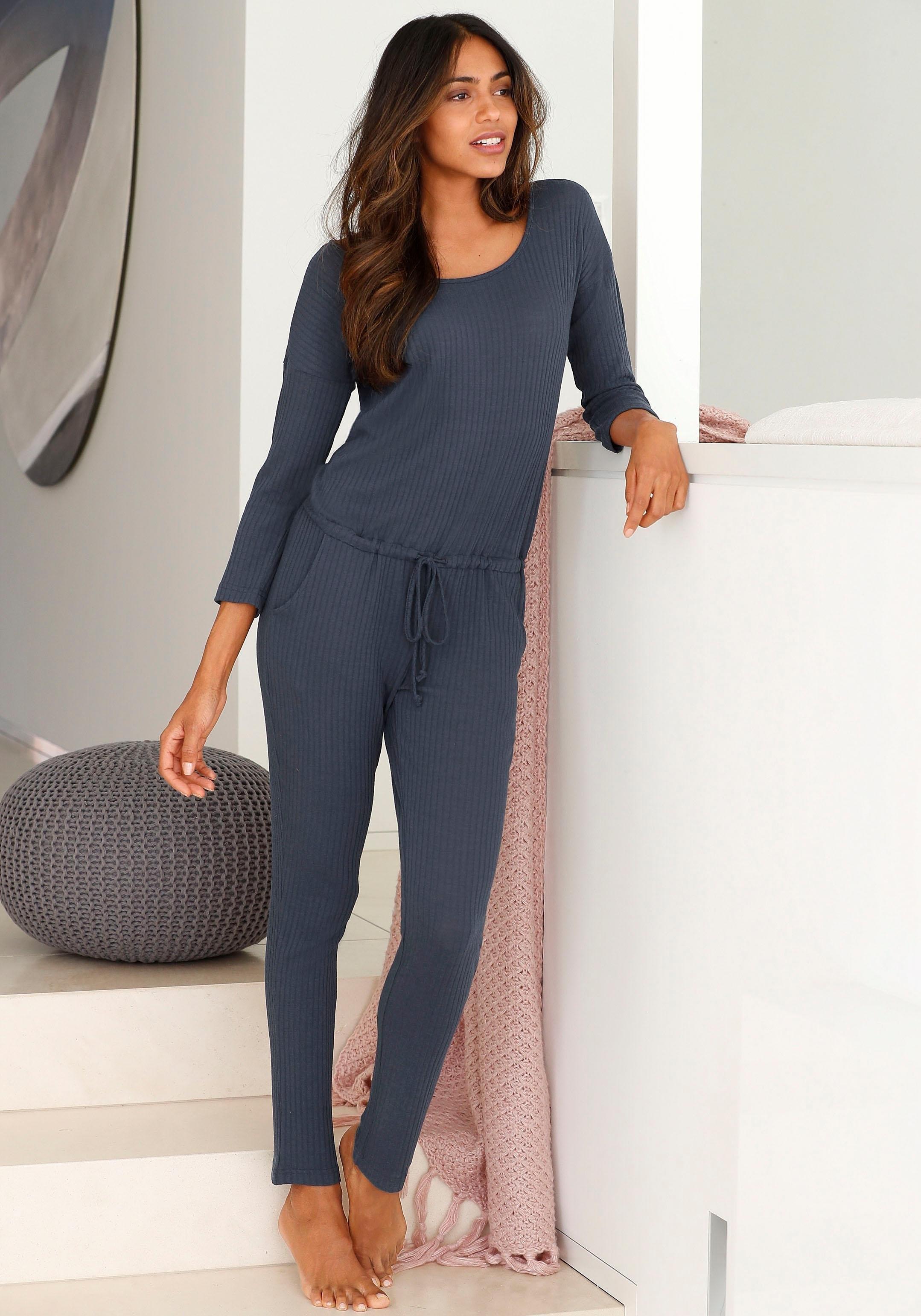 LASCANA jumpsuit in zachte ribkwaliteit met 3/4-mouwen nu online kopen bij Lascana