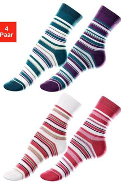 lavana sokken (set van 4 paar) met streepdessin multicolor