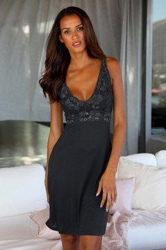 lascana negligé met elegante kant zwart