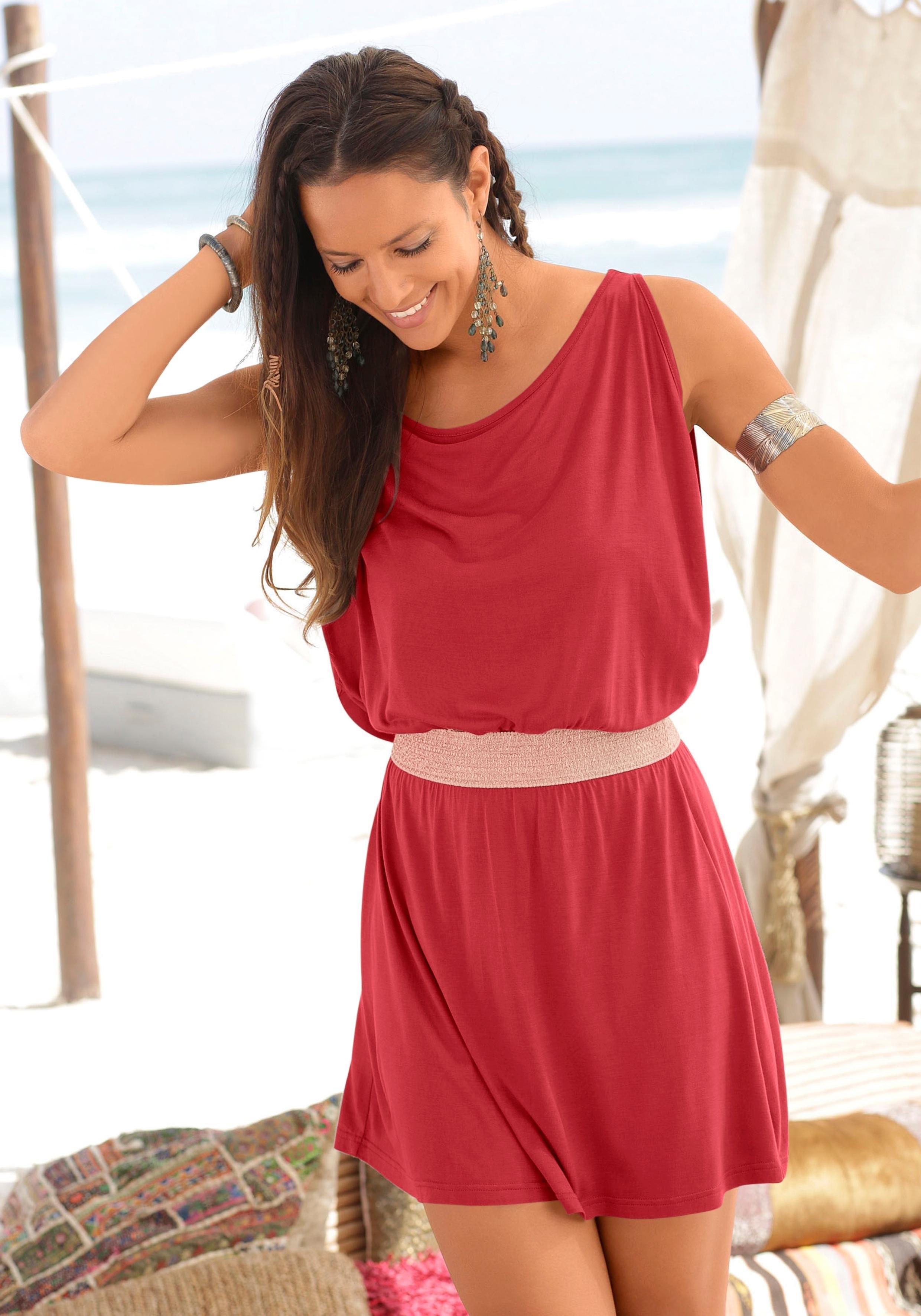 LASCANA feestjurkje met glanzende elastische riem voordelig en veilig online kopen