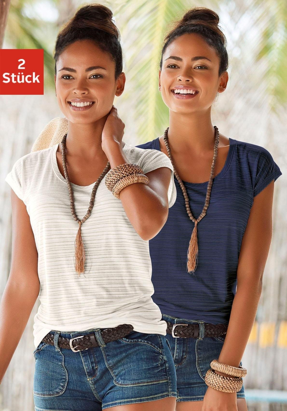beachtime T-shirt (set van 2) met fijne strepen voordelig en veilig online kopen