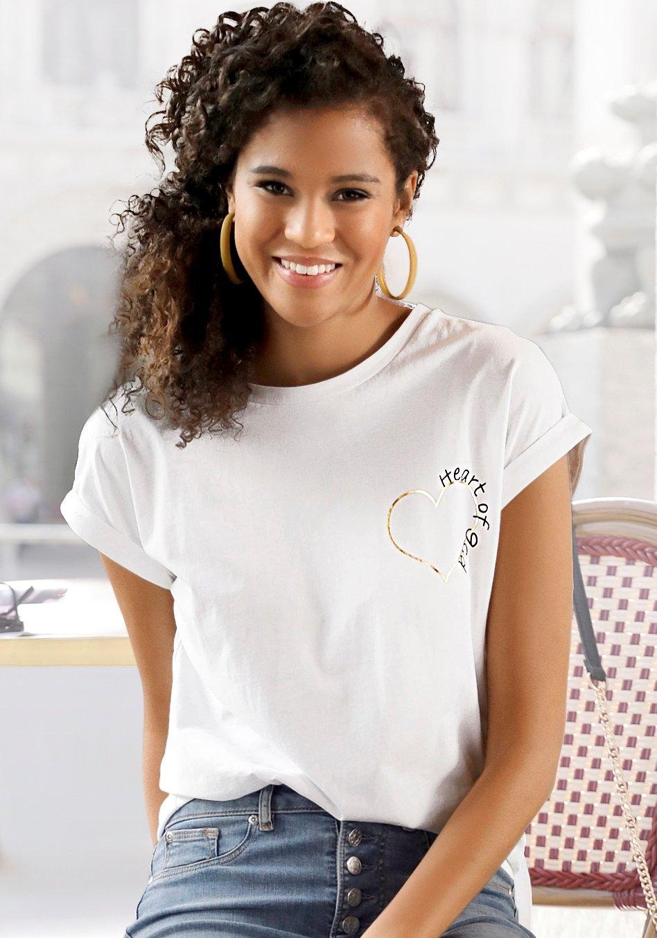 Lascana T-shirt met glanzende print bestellen: 30 dagen bedenktijd