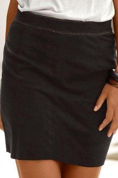lascana minirok in suède-look zwart