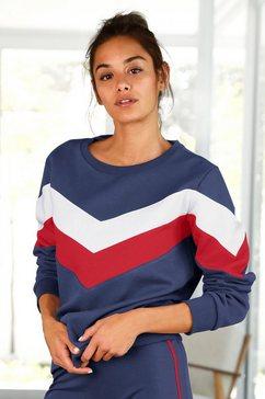 h.i.s sweatshirt met contraststrepen aan voorkant en mouwen blauw
