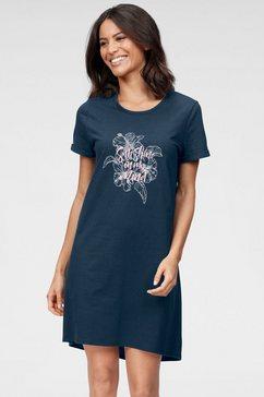 schiesser nachthemd met gebloemde voorkant blauw