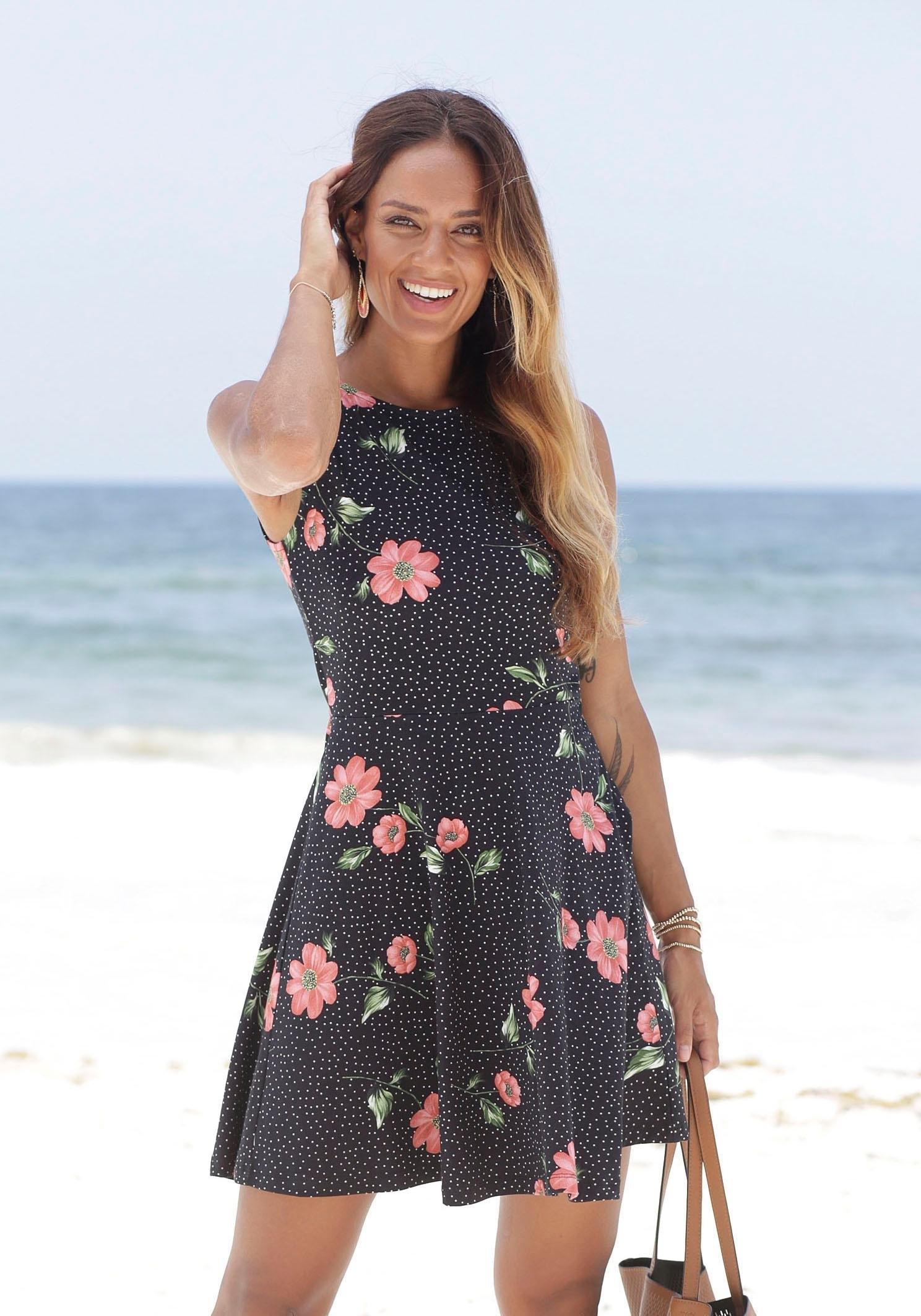beachtime strandjurk met bloemenprint goedkoop op lascana.nl kopen