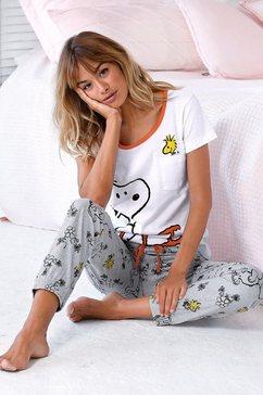 peanuts pyjama met snoopy- en woodstock-print wit